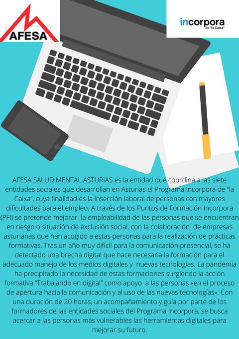 afesasturias.org -  La formación para el manejo de medios digitales cómo vía para mejorar la empleabilidad de personas en riesgo de exclusión social - AFESA - Asociación de familiares y personas con enfermedad mental de Asturias